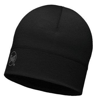czapka do biegania BUFF MERINO WOOL 1 LAYER HAT BUFF SOLID BLACK / 113013.999.10
