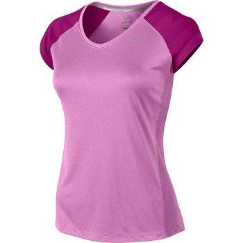 koszulka do biegania damska NIKE MILER SHORTSLEEVE V-NECK TOP / 519831-514